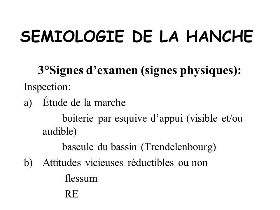 SEMIOLOGIE DE LA HANCHE 3°Signes dexamen (signes physiques): Etude des mouvements Mouvements passifs+++: le coxogramme Mouvements combinés Mouvements actifs