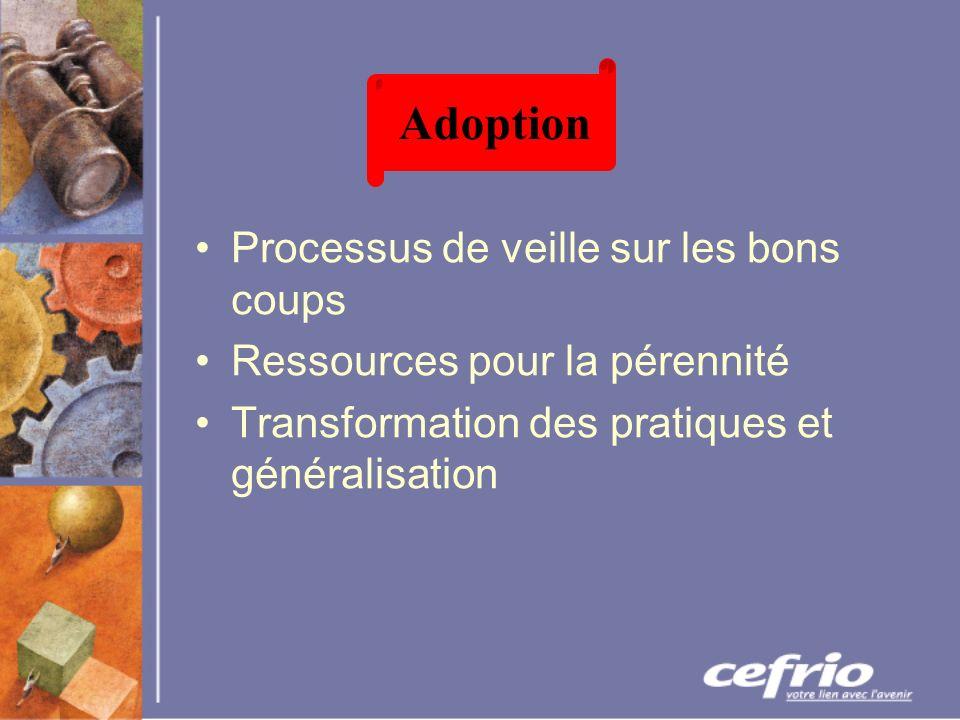 Processus de veille sur les bons coups Ressources pour la pérennité Transformation des pratiques et généralisation Adoption