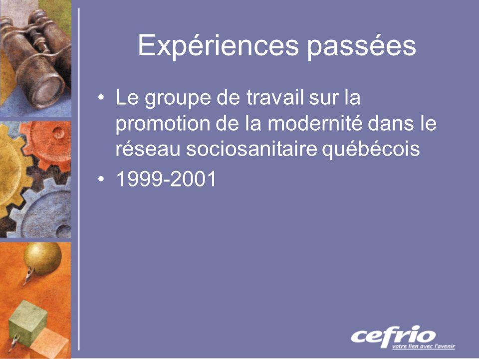 Expériences passées Le groupe de travail sur la promotion de la modernité dans le réseau sociosanitaire québécois 1999-2001