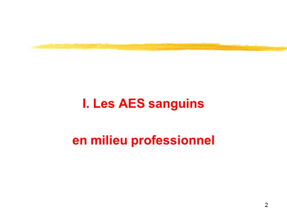 2 I. Les AES sanguins en milieu professionnel