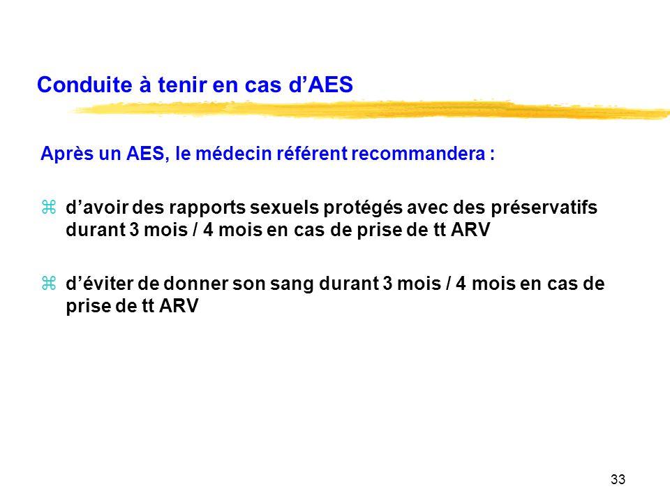 33 Conduite à tenir en cas dAES Après un AES, le médecin référent recommandera : zdavoir des rapports sexuels protégés avec des préservatifs durant 3 mois / 4 mois en cas de prise de tt ARV zdéviter de donner son sang durant 3 mois / 4 mois en cas de prise de tt ARV
