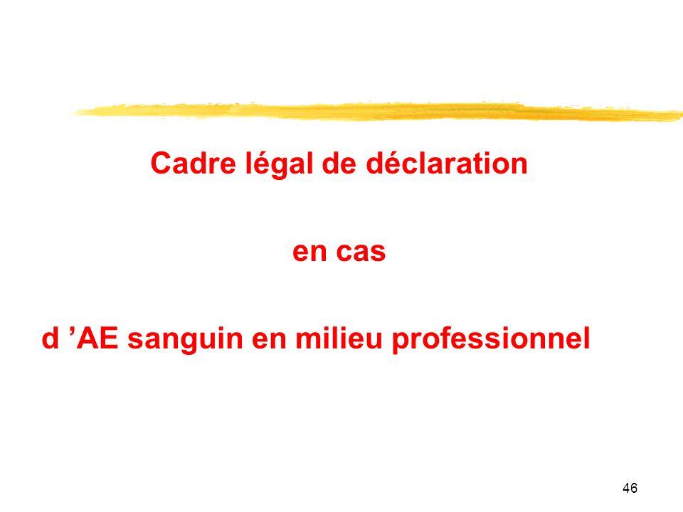 46 Cadre légal de déclaration en cas d AE sanguin en milieu professionnel