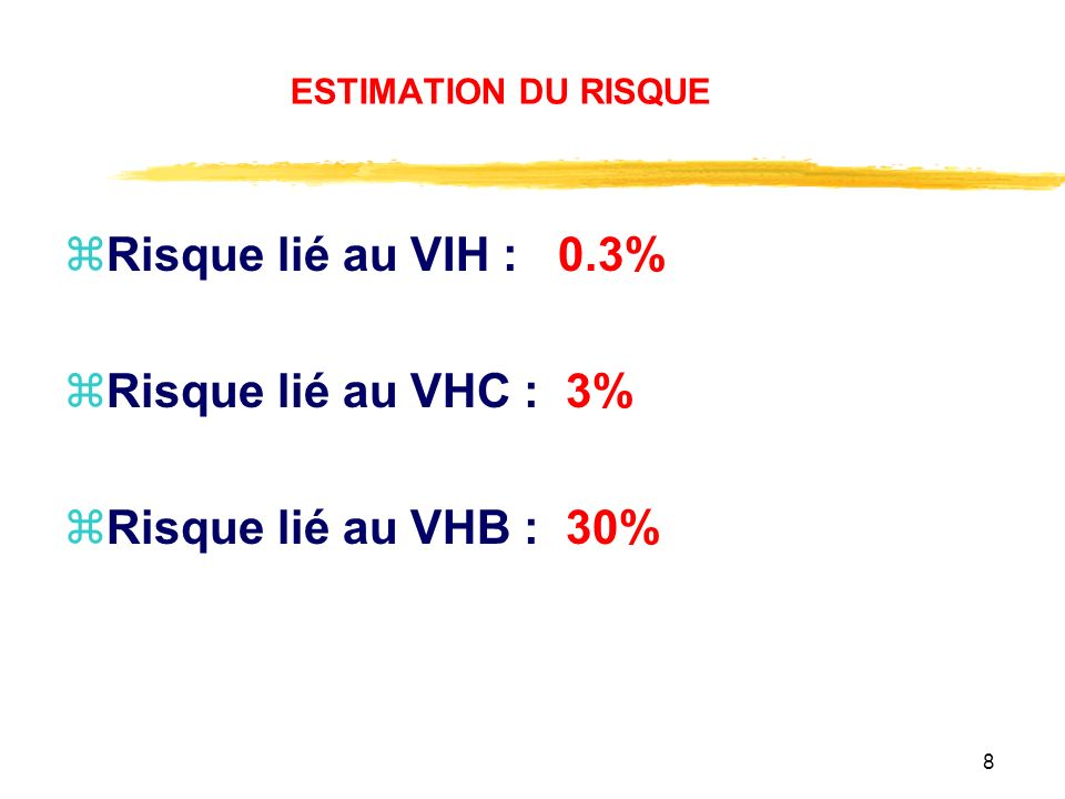 8 ESTIMATION DU RISQUE zRisque lié au VIH : 0.3% zRisque lié au VHC : 3% zRisque lié au VHB : 30%