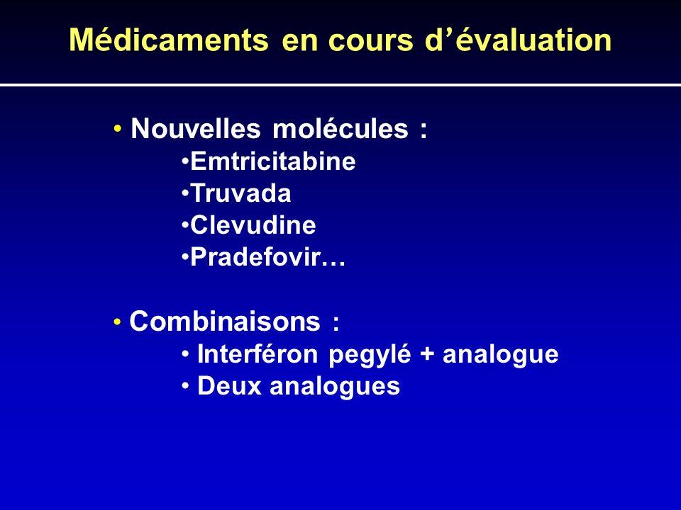 M é dicaments en cours d é valuation Nouvelles molécules : Emtricitabine Truvada Clevudine Pradefovir… Combinaisons : Interféron pegylé + analogue Deu