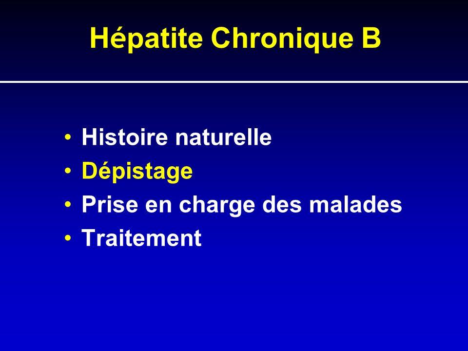 H é patite Chronique B Histoire naturelle Dépistage Prise en charge des malades Traitement