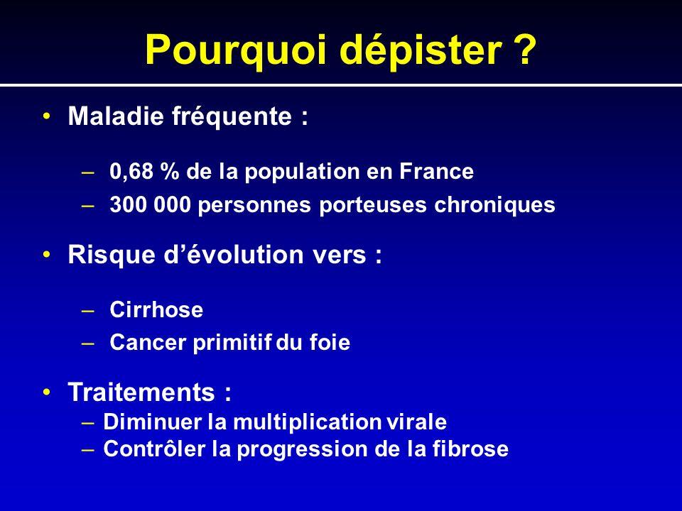 Pourquoi dépister ? Maladie fréquente : – 0,68 % de la population en France – 300 000 personnes porteuses chroniques Risque dévolution vers : – Cirrho