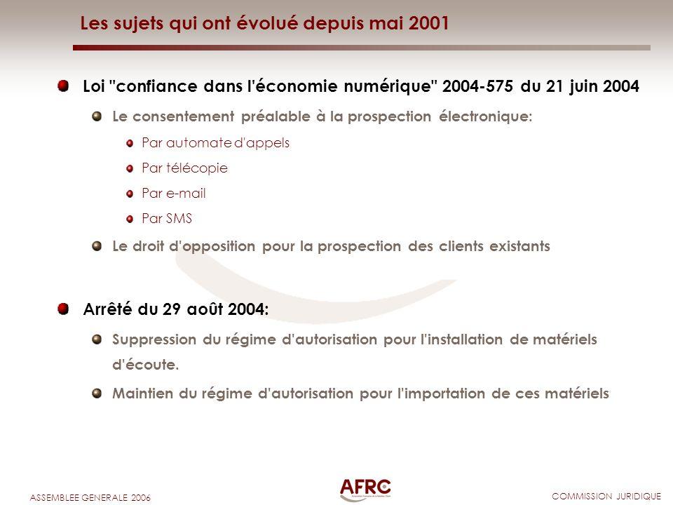 COMMISSION JURIDIQUE ASSEMBLEE GENERALE 2006 Les sujets qui ont évolué depuis mai 2001 Loi