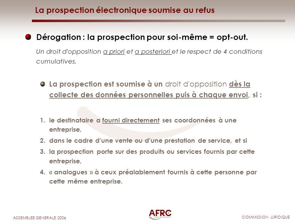 COMMISSION JURIDIQUE ASSEMBLEE GENERALE 2006 La prospection électronique soumise au refus Dérogation : la prospection pour soi-même = opt-out. Un droi