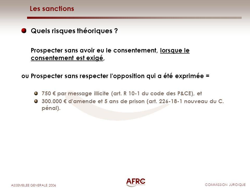 COMMISSION JURIDIQUE ASSEMBLEE GENERALE 2006 Les sanctions Quels risques théoriques ? Prospecter sans avoir eu le consentement, lorsque le consentemen