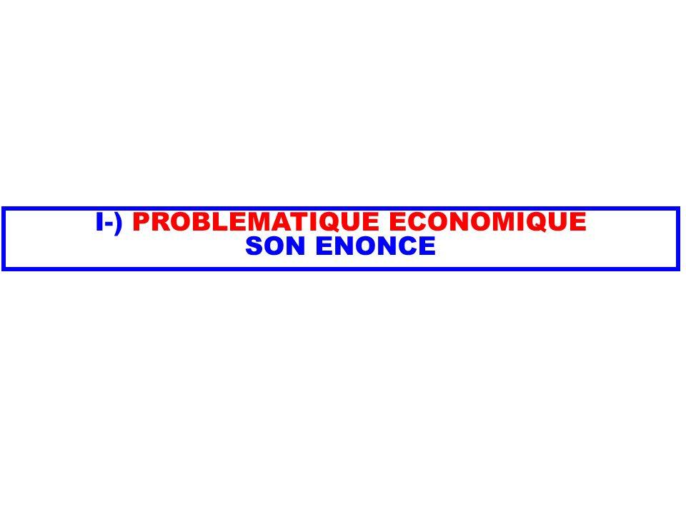 I-) PROBLEMATIQUE ECONOMIQUE SON ENONCE