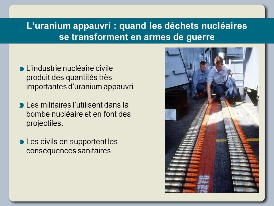 Luranium appauvri : quand les déchets nucléaires se transforment en armes de guerre Lindustrie nucléaire civile produit des quantités très importantes