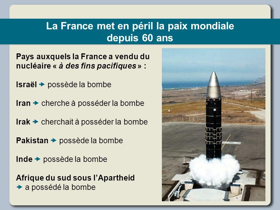 La France met en péril la paix mondiale depuis 60 ans Pays auxquels la France a vendu du nucléaire « à des fins pacifiques » : Israël possède la bombe