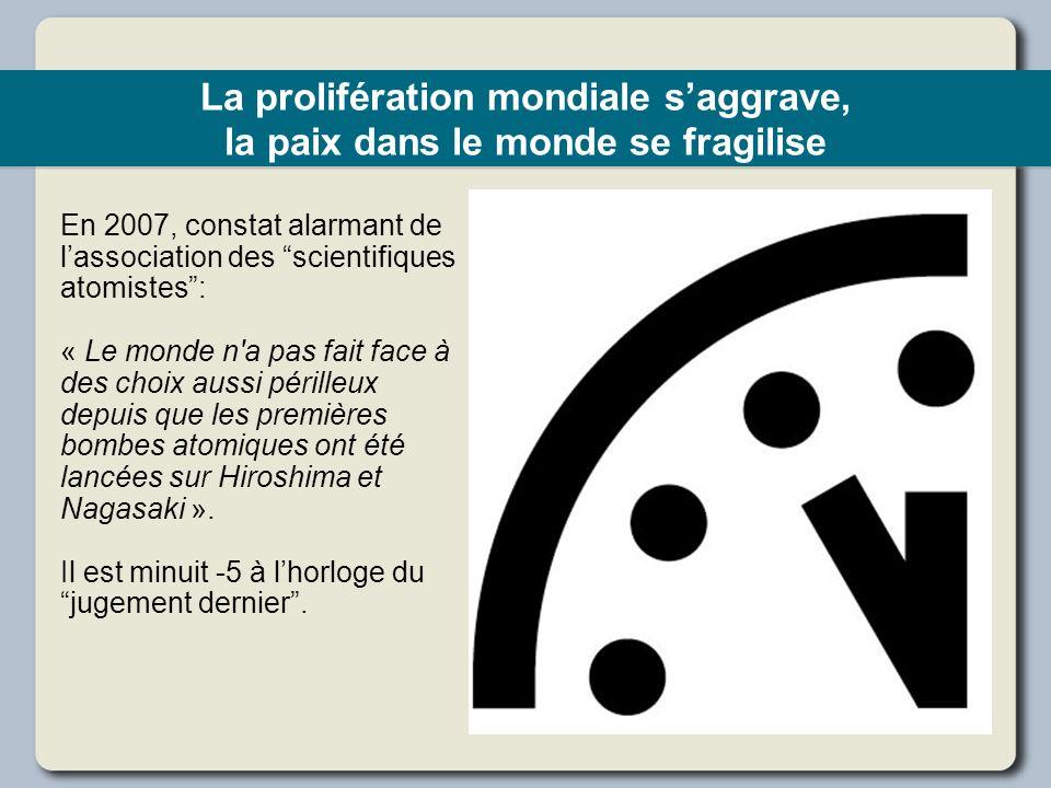 La prolifération mondiale saggrave, la paix dans le monde se fragilise En 2007, constat alarmant de lassociation des scientifiques atomistes: « Le mon
