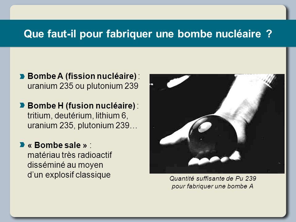 Que faut-il pour fabriquer une bombe nucléaire ? Bombe A (fission nucléaire) : uranium 235 ou plutonium 239 Bombe H (fusion nucléaire) : tritium, deut