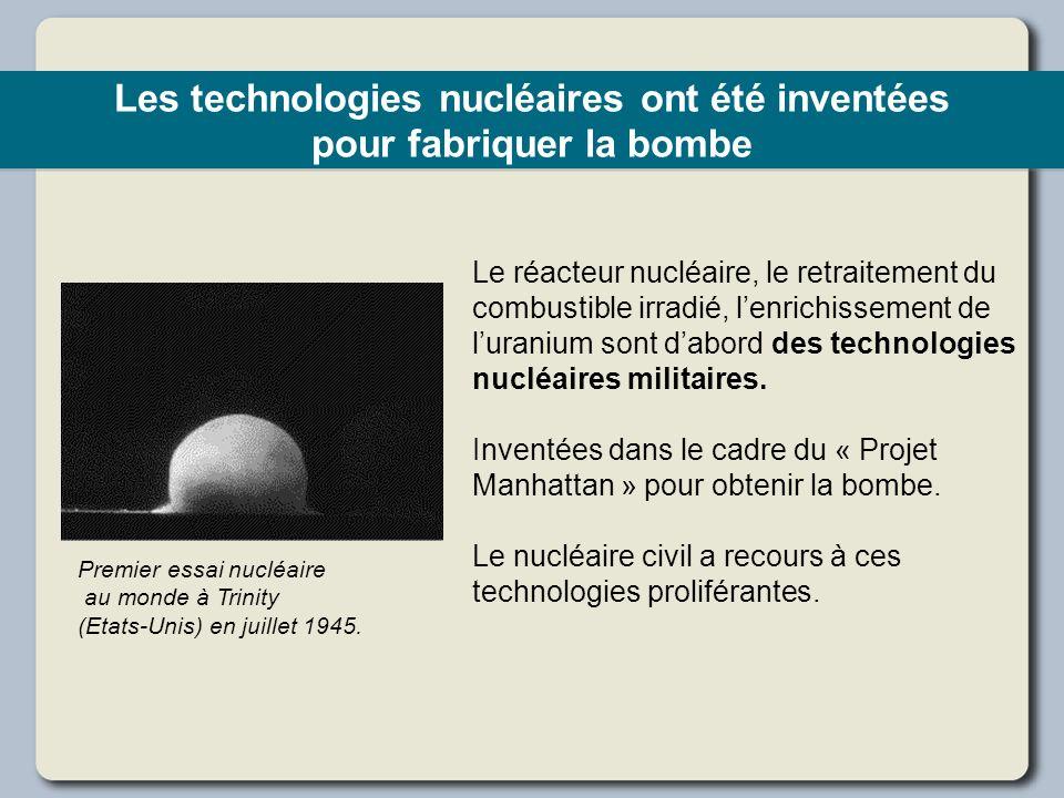 Les technologies nucléaires ont été inventées pour fabriquer la bombe Le réacteur nucléaire, le retraitement du combustible irradié, lenrichissement d
