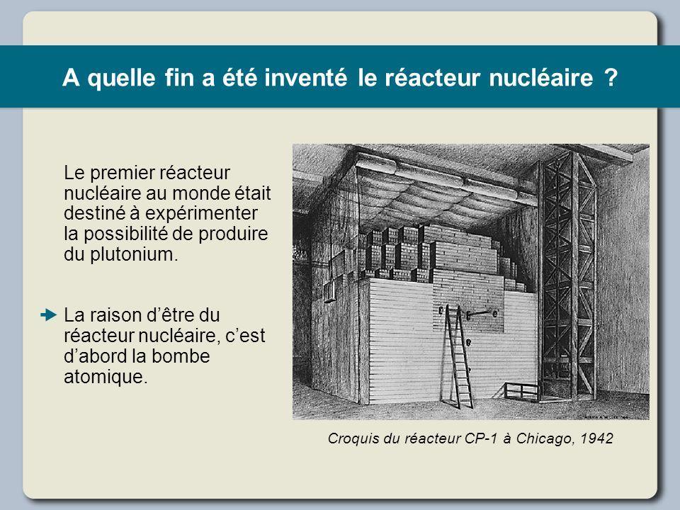 A quelle fin a été inventé le réacteur nucléaire ? Le premier réacteur nucléaire au monde était destiné à expérimenter la possibilité de produire du p