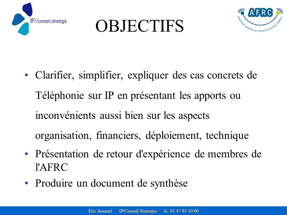 Eric Assaraf IP Conseil.Stratégie 01 47 84 10 00 OBJECTIFS Clarifier, simplifier, expliquer des cas concrets de Téléphonie sur IP en présentant les apports ou inconvénients aussi bien sur les aspects organisation, financiers, déploiement, technique Présentation de retour d expérience de membres de l AFRC Produire un document de synthèse