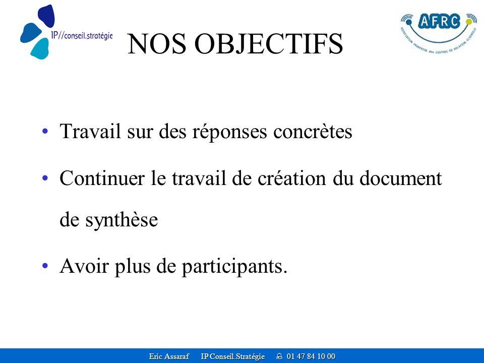 Eric Assaraf IP Conseil.Stratégie 01 47 84 10 00 NOS OBJECTIFS Travail sur des réponses concrètes Continuer le travail de création du document de synthèse Avoir plus de participants.