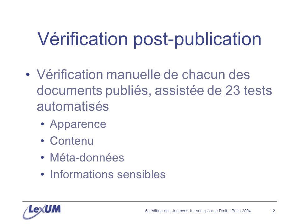 6e édition des Journées Internet pour le Droit - Paris 200412 Vérification post-publication Vérification manuelle de chacun des documents publiés, assistée de 23 tests automatisés Apparence Contenu Méta-données Informations sensibles