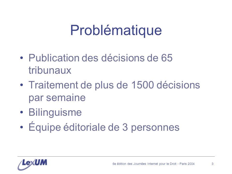 6e édition des Journées Internet pour le Droit - Paris 20043 Problématique Publication des décisions de 65 tribunaux Traitement de plus de 1500 décisions par semaine Bilinguisme Équipe éditoriale de 3 personnes
