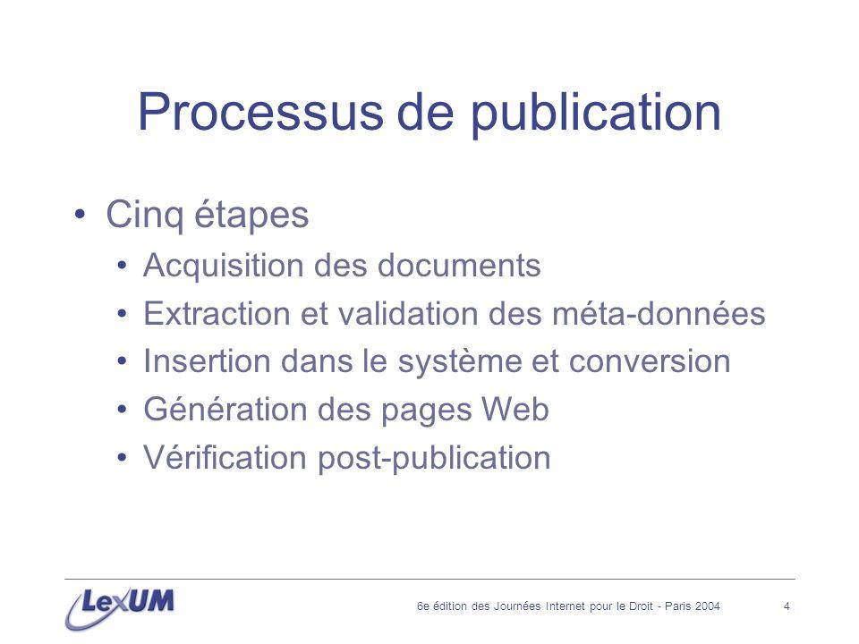 6e édition des Journées Internet pour le Droit - Paris 20044 Processus de publication Cinq étapes Acquisition des documents Extraction et validation des méta-données Insertion dans le système et conversion Génération des pages Web Vérification post-publication
