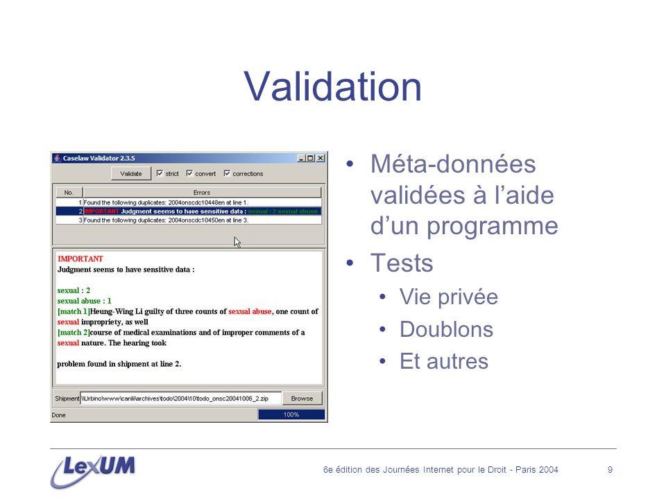 6e édition des Journées Internet pour le Droit - Paris 200410 Insertion dans le système et conversion Validation de lintégrité des informations pour permettre leur insertion Insertion dans la base de données Documents Méta-données Conversion des documents au format HTML Insertion dhyperliens dans le texte des décisions