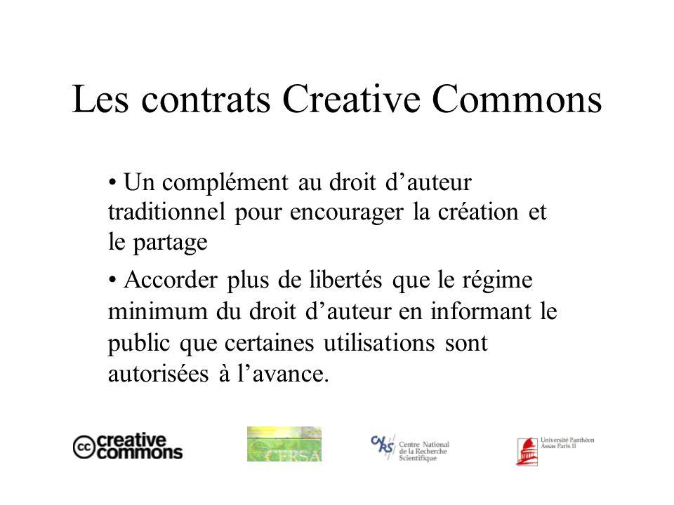 Les contrats Creative Commons Un complément au droit dauteur traditionnel pour encourager la création et le partage Accorder plus de libertés que le régime minimum du droit dauteur en informant le public que certaines utilisations sont autorisées à lavance.