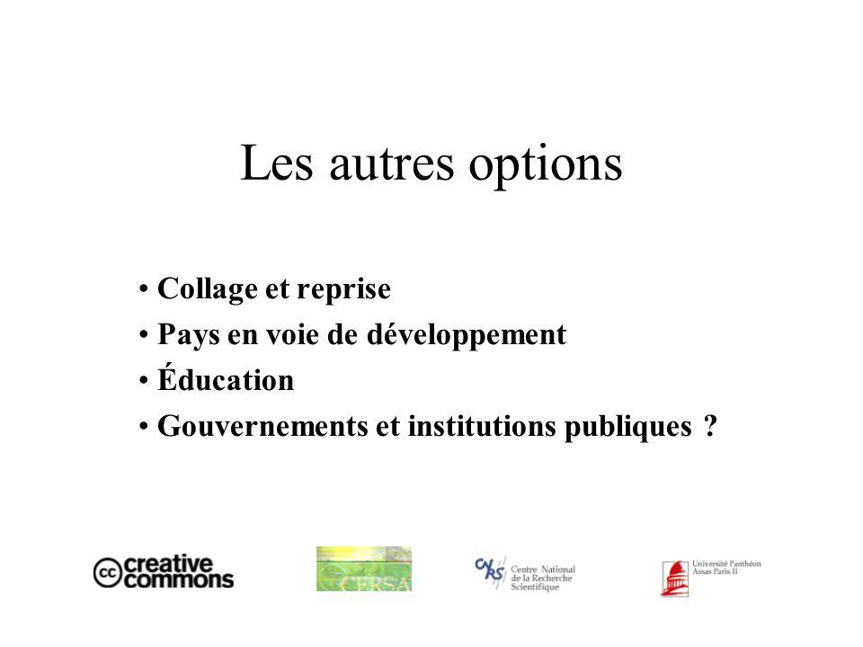 Les autres options Collage et reprise Pays en voie de développement Éducation Gouvernements et institutions publiques