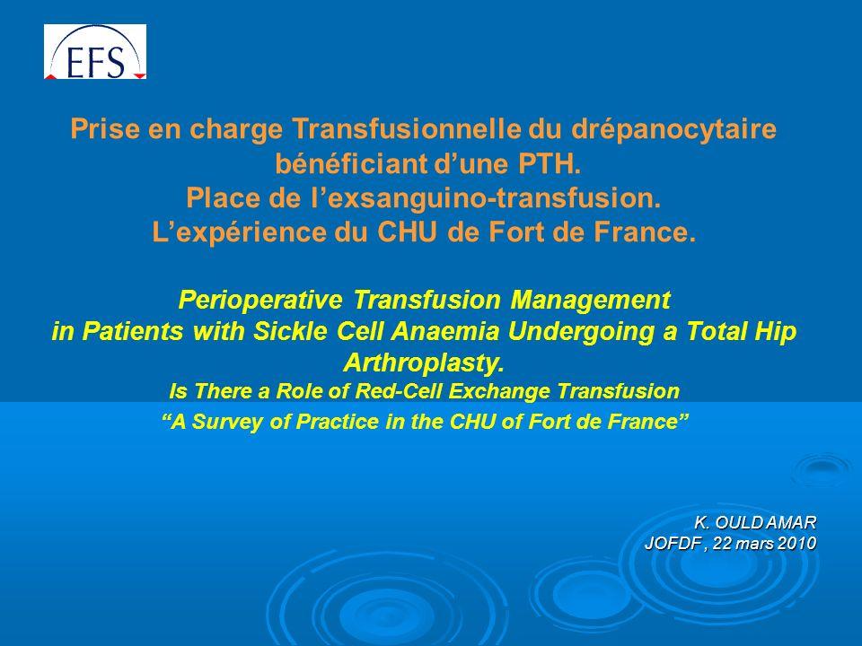 Prise en charge Transfusionnelle du drépanocytaire bénéficiant dune PTH.