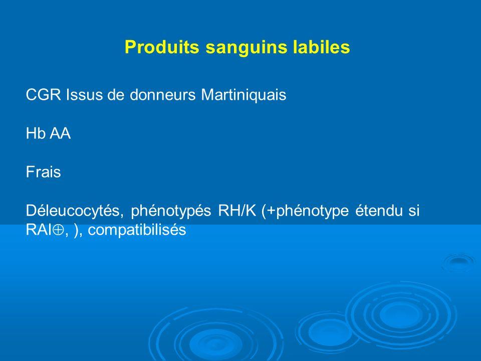 Produits sanguins labiles CGR Issus de donneurs Martiniquais Hb AA Frais Déleucocytés, phénotypés RH/K (+phénotype étendu si RAI, ), compatibilisés