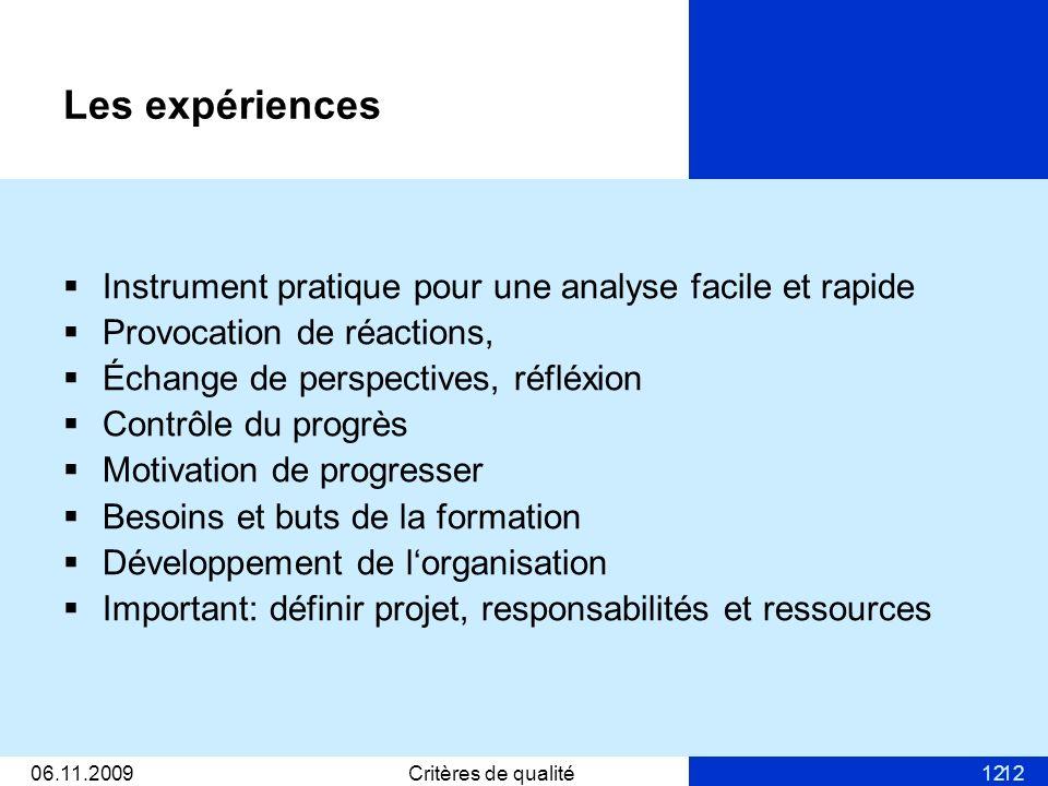 1206.11.2009Critères de qualité12 Les expériences Instrument pratique pour une analyse facile et rapide Provocation de réactions, Échange de perspecti