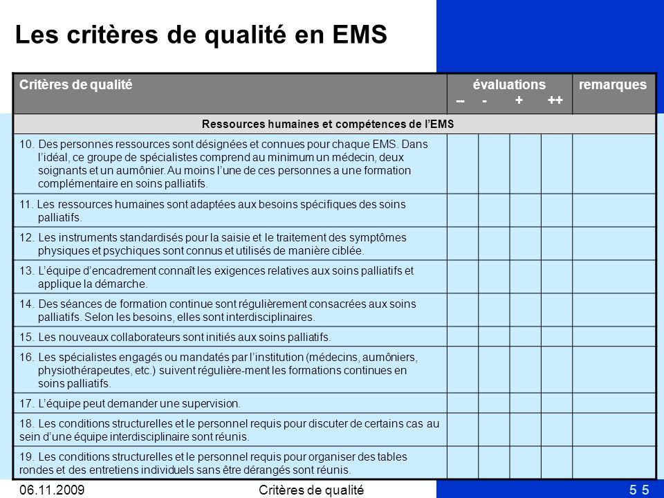 506.11.2009Critères de qualité5 évaluations -- - + ++ remarques Ressources humaines et compétences de lEMS 10. Des personnes ressources sont désignées