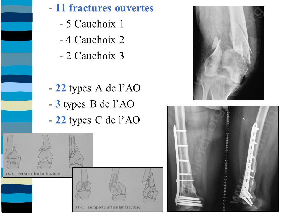 - 11 fractures ouvertes - 5 Cauchoix 1 - 4 Cauchoix 2 - 2 Cauchoix 3 - 22 types A de lAO - 3 types B de lAO - 22 types C de lAO