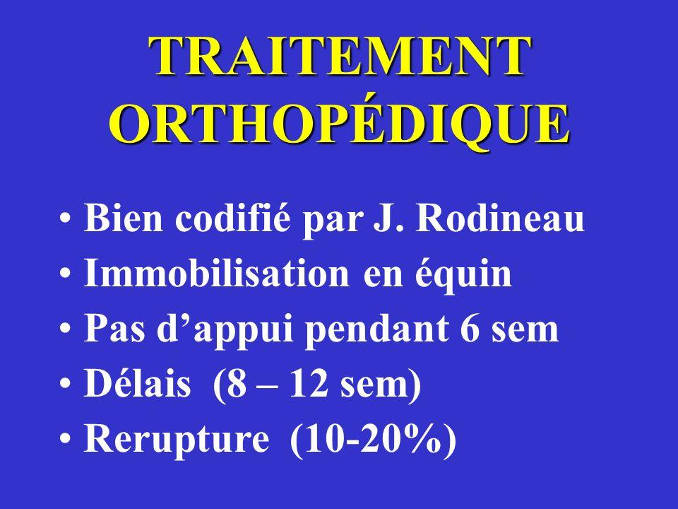 TRAITEMENT ORTHOPÉDIQUE Bien codifié par J. Rodineau Immobilisation en équin Pas dappui pendant 6 sem Délais (8 – 12 sem) Rerupture (10-20%)