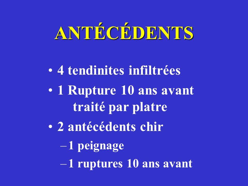 ANTÉCÉDENTS 4 tendinites infiltrées 1 Rupture 10 ans avant traité par platre 2 antécédents chir –1 peignage –1 ruptures 10 ans avant