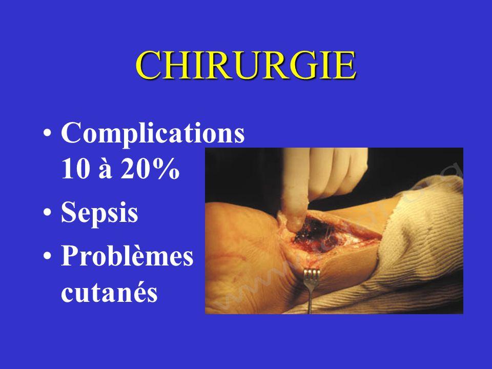 CHIRURGIE Complications 10 à 20% Sepsis Problèmes cutanés