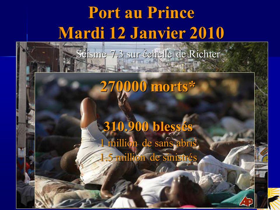 Port au Prince Mardi 12 Janvier 2010 Séisme 7.3 sur échelle de Richter 270000 morts* 310.900 blessés 1 million de sans abris 1.5 million de sinistrés