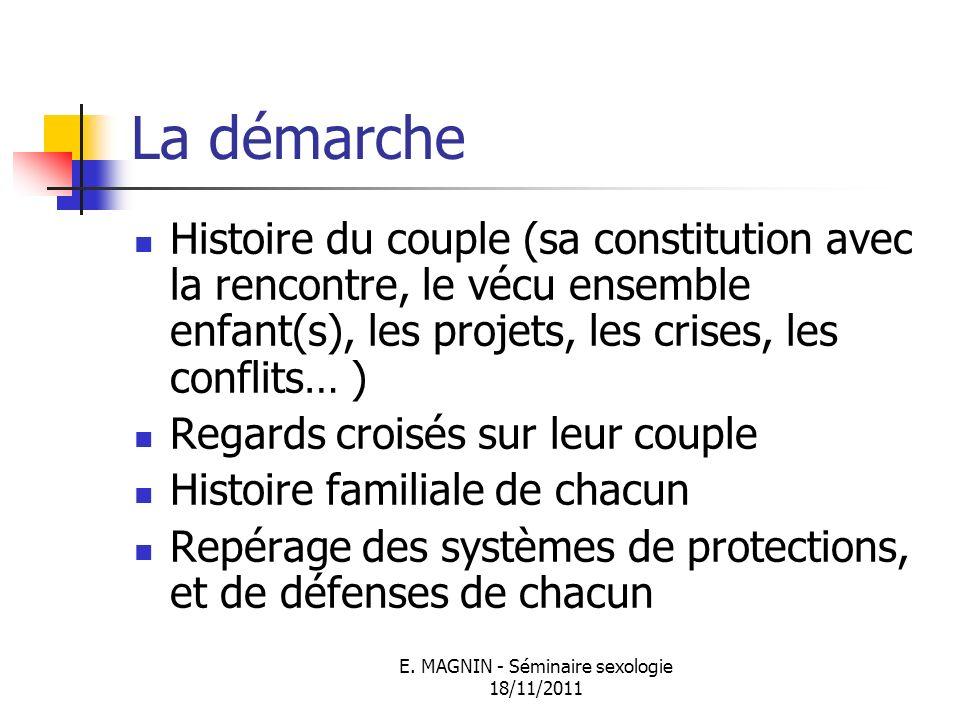 E. MAGNIN - Séminaire sexologie 18/11/2011 La démarche Histoire du couple (sa constitution avec la rencontre, le vécu ensemble enfant(s), les projets,