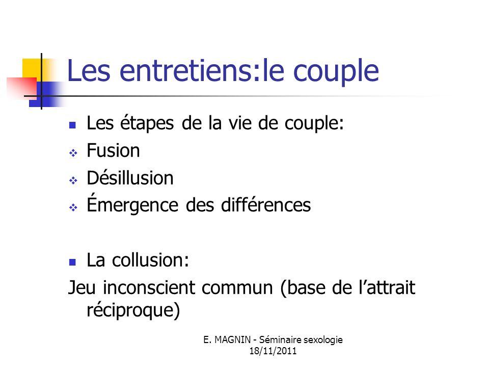E. MAGNIN - Séminaire sexologie 18/11/2011 Les entretiens:le couple Les étapes de la vie de couple: Fusion Désillusion Émergence des différences La co