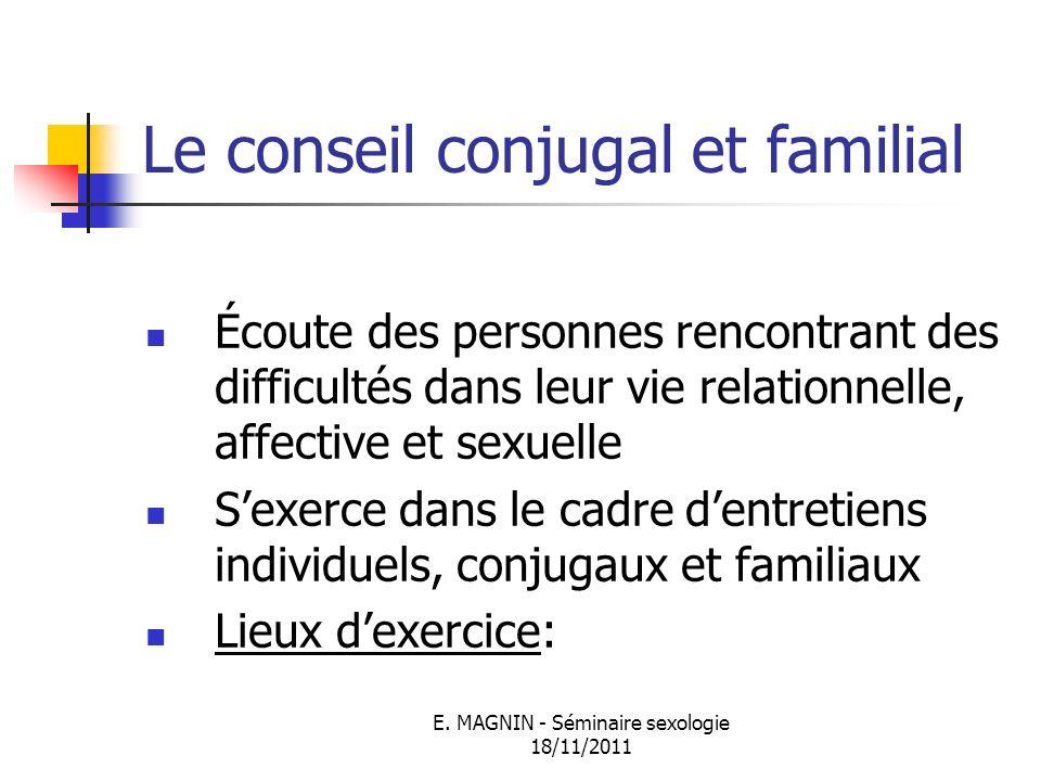 E. MAGNIN - Séminaire sexologie 18/11/2011 Le conseil conjugal et familial Écoute des personnes rencontrant des difficultés dans leur vie relationnell
