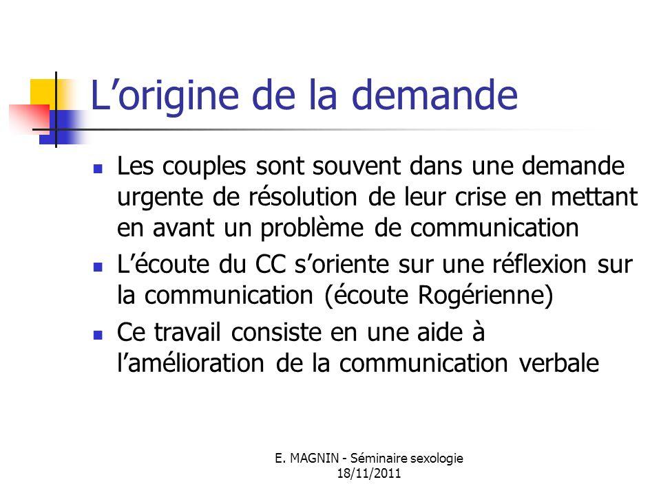 E. MAGNIN - Séminaire sexologie 18/11/2011 Lorigine de la demande Les couples sont souvent dans une demande urgente de résolution de leur crise en met