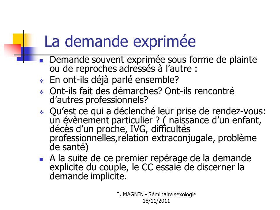 E. MAGNIN - Séminaire sexologie 18/11/2011 La demande exprimée Demande souvent exprimée sous forme de plainte ou de reproches adressés à lautre : En o
