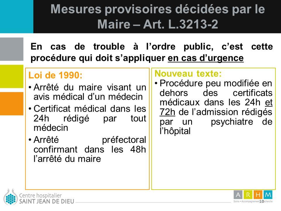 10/07/11 10 Loi de 1990: Arrêté du maire visant un avis médical dun médecin Certificat médical dans les 24h rédigé par tout médecin Arrêté préfectoral