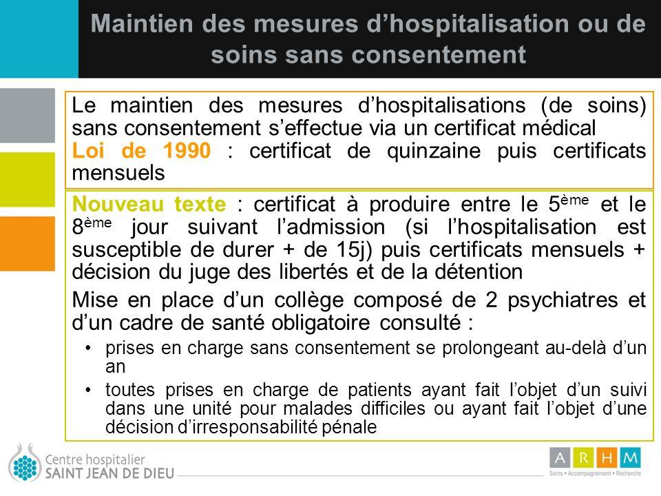 10/07/11 Maintien des mesures dhospitalisation ou de soins sans consentement Nouveau texte : certificat à produire entre le 5 ème et le 8 ème jour sui