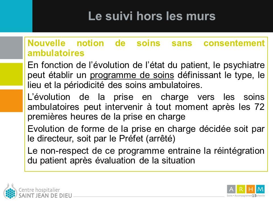 10/07/11 13 Nouvelle notion de soins sans consentement ambulatoires En fonction de lévolution de létat du patient, le psychiatre peut établir un progr