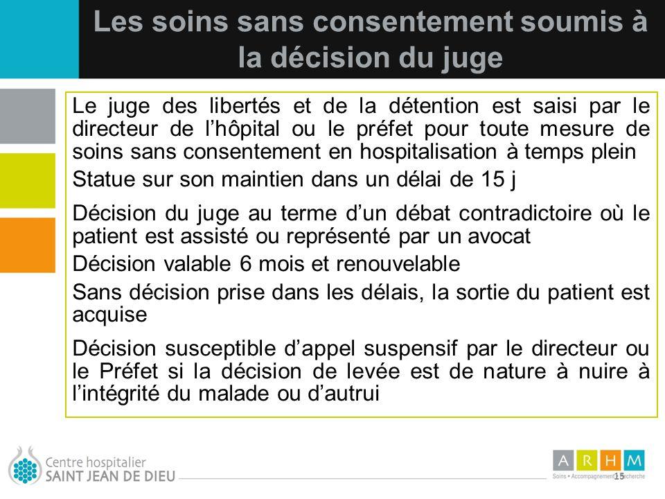 10/07/11 15 Les soins sans consentement soumis à la décision du juge Le juge des libertés et de la détention est saisi par le directeur de lhôpital ou