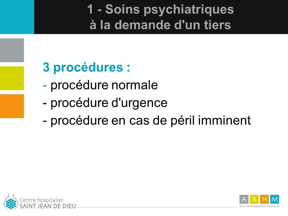 10/07/11 1 - Soins psychiatriques à la demande d'un tiers 3 procédures : - procédure normale - procédure d'urgence - procédure en cas de péril imminen