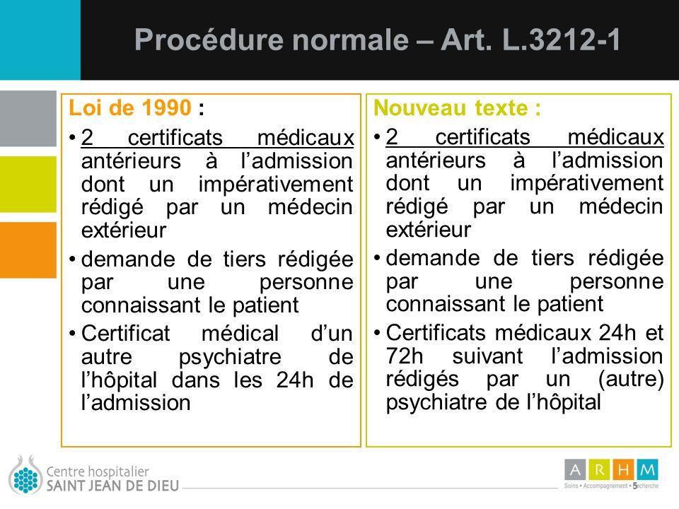 10/07/11 5 Loi de 1990 : 2 certificats médicaux antérieurs à ladmission dont un impérativement rédigé par un médecin extérieur demande de tiers rédigé