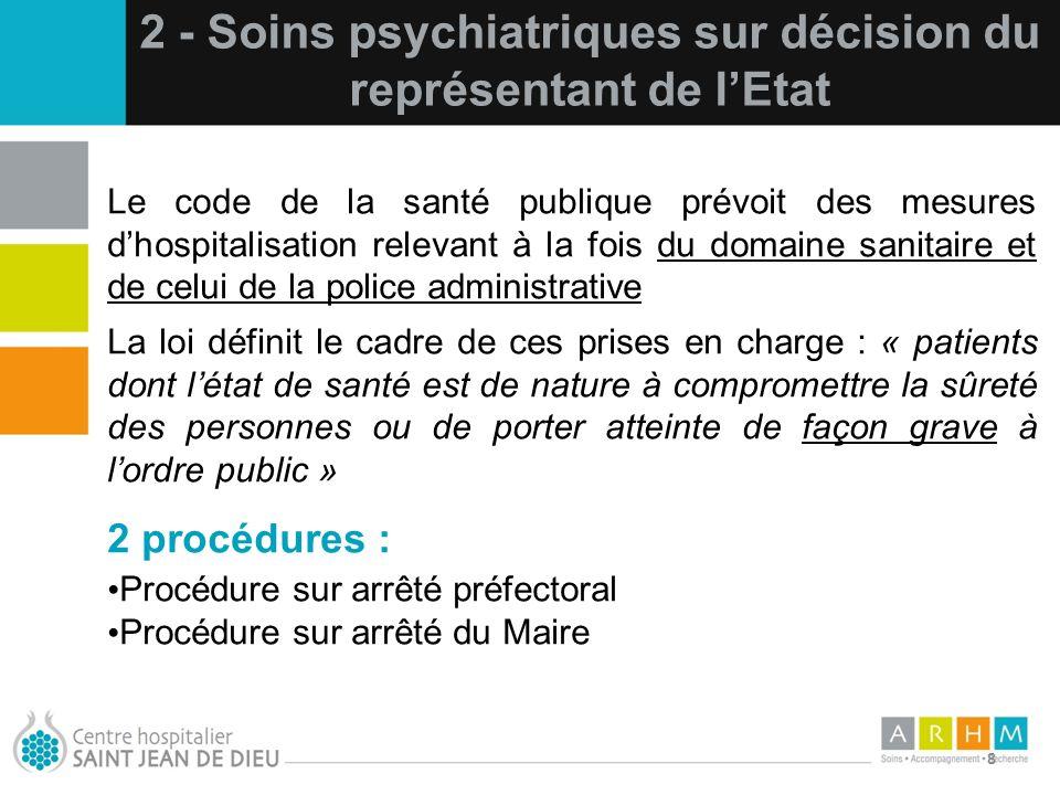 10/07/11 8 Le code de la santé publique prévoit des mesures dhospitalisation relevant à la fois du domaine sanitaire et de celui de la police administ
