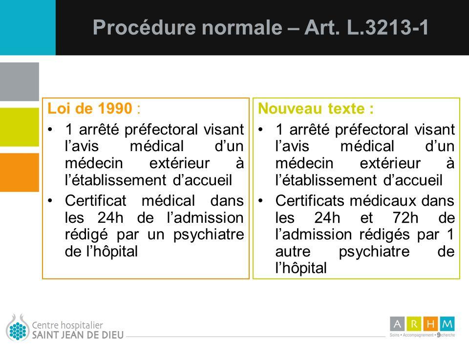 10/07/11 9 Loi de 1990 : 1 arrêté préfectoral visant lavis médical dun médecin extérieur à létablissement daccueil Certificat médical dans les 24h de